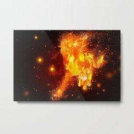 Running fire horse design Metal Print