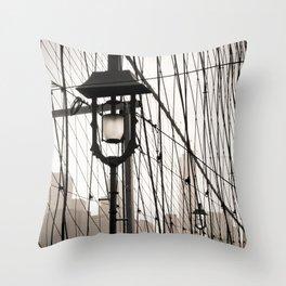New York City's Brooklyn Bridge - Black and White Photography Throw Pillow