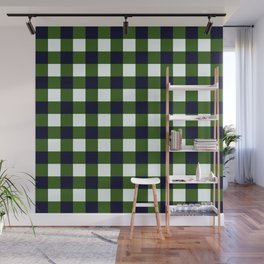 Dark Green Checkerboard Pattern Wall Mural