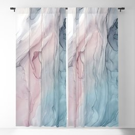 Calming Pastel Flow- Blush, grey and blue Blackout Curtain