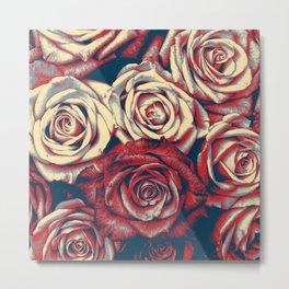 Graphic Roses Metal Print