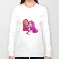 princess bubblegum Long Sleeve T-shirts featuring Starfire and Princess Bubblegum by Angie Nasca