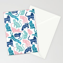 Be like a cat // white background pastel pink blue aqua and teal cat silhouettes with affirmations Stationery Cards