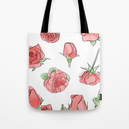 Watercolor Roses Tote Bag