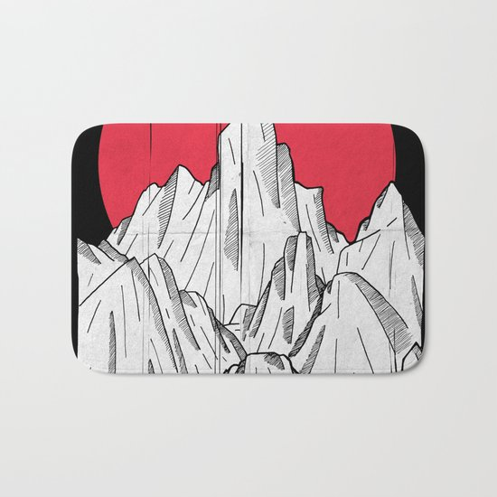The red sun and the mountains Bath Mat
