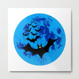 Vampire Bats Against The Blue Moon Metal Print