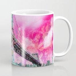 New York City Manhattan Bridge Red Coffee Mug