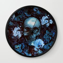Skull and Flowers Wall Clock