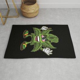 Stoned Cannabis Leaf - Weed Smoking Cartoon Rug
