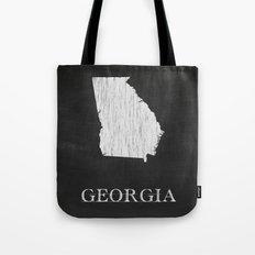 Georgia State Map Chalk Drawing Tote Bag