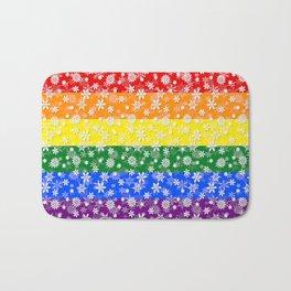 Christmas Pride Bright Festive Rainbow Snowflakes Bath Mat