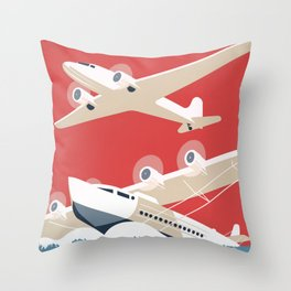 Vintage Airplane Art - City of New York Municipal Airports Throw Pillow