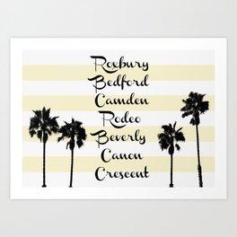 Beverly Hills Street Names Palm Trees Yellow Stripes Art Print