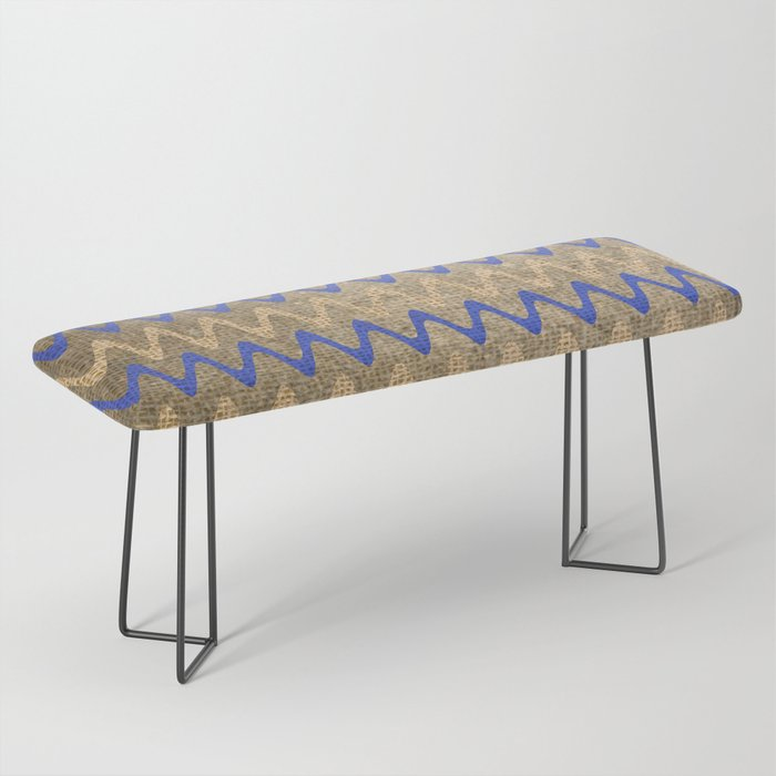 Blue and Tan Zigzag Stripes on Grungy Brown Burlap Graphic Design Bench