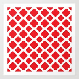 Red Quatrefoil Pattern Art Print