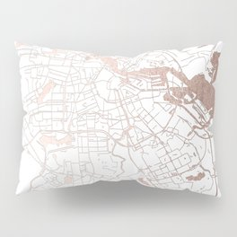 Amsterdam White on Rosegold Street Map Pillow Sham
