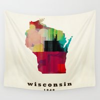 wisconsin Wall Tapestries featuring Wisconsin state map modern by bri.buckley