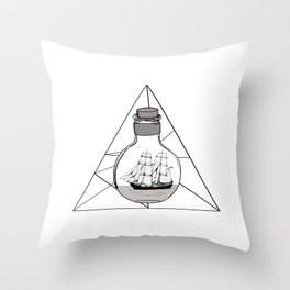 Graphic . Geometric Shape Black Ship in a Bottle Throw Pillow