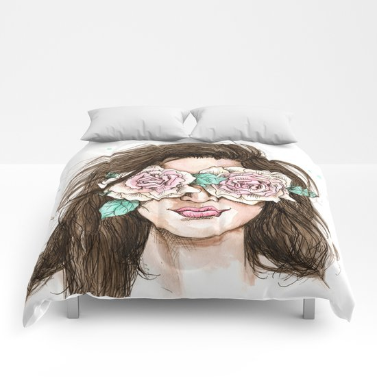 white roses in their eyes (female version) Comforters