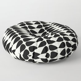 Mod Leaves Mid Century Modern Abstract Pattern in Black and Almond Cream Floor Pillow