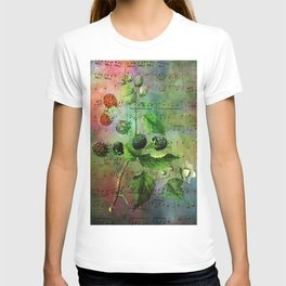 Blackberry Music, Vintage Botanical Illustration Collage Art T-shirt