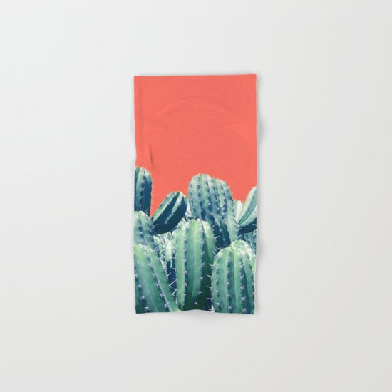 Cactus on Coral #society6 #decor #buyart Hand & Bath Towel