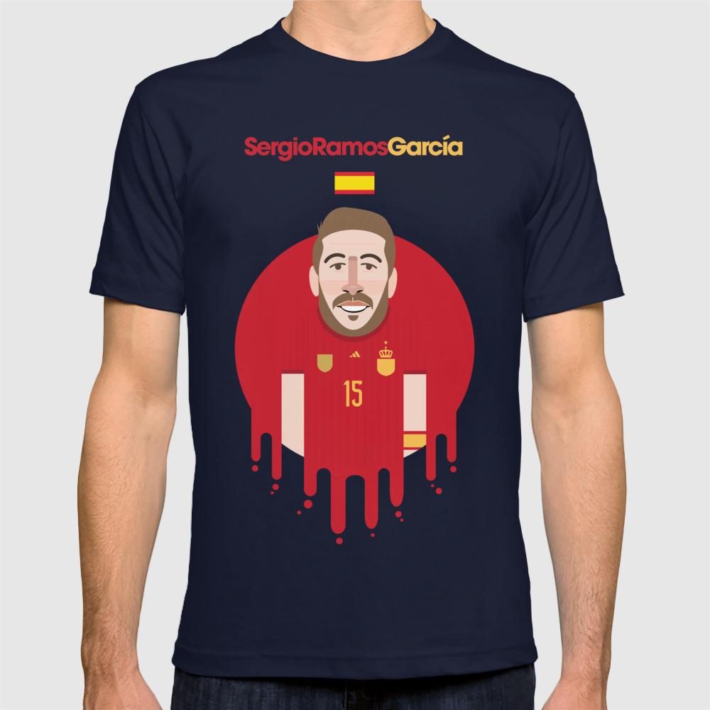 wholesale dealer 56aa4 96d5e Sergio Ramos Spain Illustration T-shirt