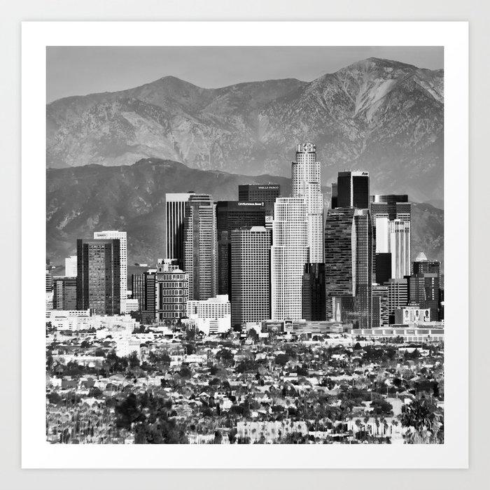 Los Angeles Skyline and Mountain Landscape - Square 1x1 Monochrome Art Print - Los Angeles Skyline And Mountain Landscape - Square 1x1 Monochrome