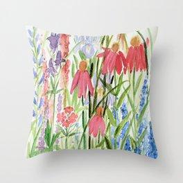 Garden Flowers Watercolor Throw Pillow