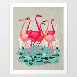 Flamingos by Andrea Lauren  Art Print