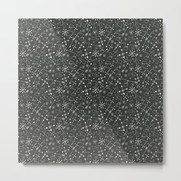 Out of Space, Planets, Stars Children's Pattern - Black Metal Print