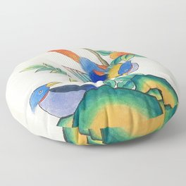 Minhwa: Peony and Two Little Birds  Floor Pillow
