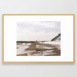 Winter Surf | Frankfort, Michigan | John Hill Photography Framed Art Print