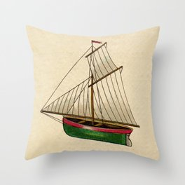 Vintage Nautical Toy Sailboat Throw Pillow