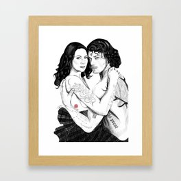 Jamie & Claire with Tattoos Framed Art Print