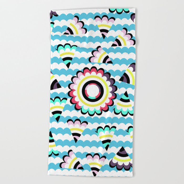 Floral pieces among clouds Beach Towel