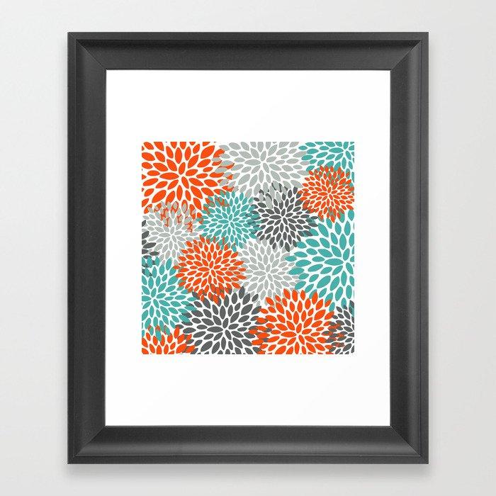 Floral Pattern, Abstract, Orange, Teal and Gray Gerahmter Kunstdruck