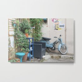 mobylette bleue Metal Print