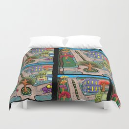Sunday Morning Country Town  Duvet Cover