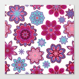 Flower retro pattern. Purple and blue flowers on white background. Canvas Print