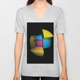 3D Art Sphere 4 - Cutting To The Core Series Unisex V-Neck