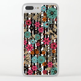 Floral pattern on black and white striped background Clear iPhone Case