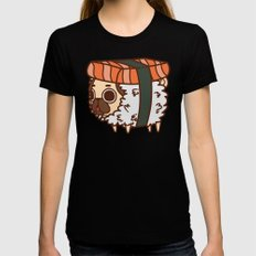 Puglie Salmon Sushi Black LARGE Womens Fitted Tee