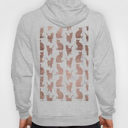 Modern faux rose gold cats pattern white marble Hoody