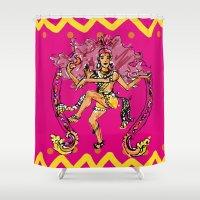shiva Shower Curtains featuring Dancing Shiva by Miakoworld