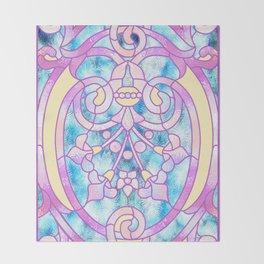 Art Nouveau Blue Pink and Yellow Batik Design Throw Blanket