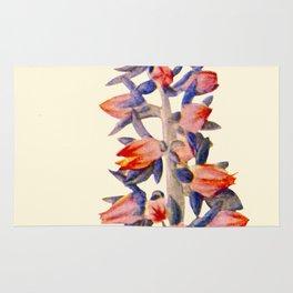 Purple And orange Vintage Succulent Watercolour Rug