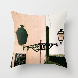 Antique street light at sunset Throw Pillow