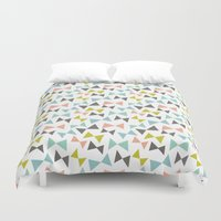 bows Duvet Covers featuring Spring bows by Demi Goutte
