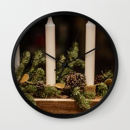 Candles and pine leaves Wall Clock